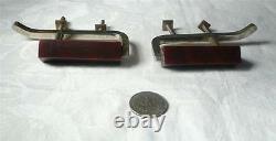 Set of 2 art deco bakelite TESTED and metal Pull handles knobs 108 grams(s10403)