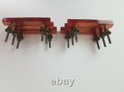 Set of 6 rare Art Deco phenolic bakelite handles burnt orange marbelled