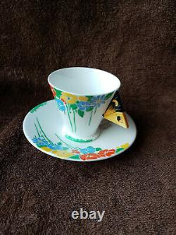Shelley Art Deco Butterfly Handle Mode Cup & Saucer c. 1930-1932
