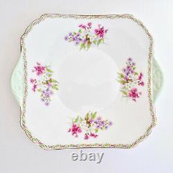 Shelley Stocks Square Cake Plate Gainsborough Green Tab Handles Laurel Rim Vtg