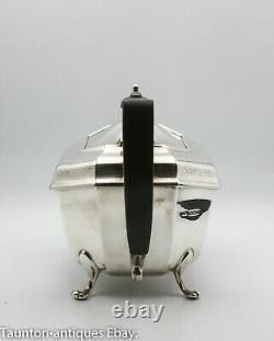 Solid sterling silver 3 piece tea set ebony handle Viner 1947 Art Deco design