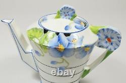 Stunning & Rare Art Deco Royal Paragon Blue Poppy Flower Handle Teapot & Stand