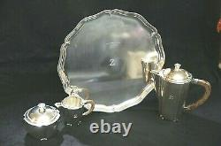 Swedish Sterling Silver Art Deco Wood Handle Nordisk Silverkonst Coffee Set 1955