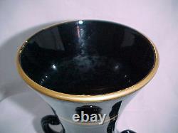 Tiffin Art Deco Black Two Handled Vase with Gold Trim