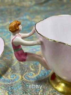 Ultra Rare Hammersley Tea Cup & Saucer Hand Painted Pink With Swimmer Handle