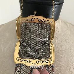 VINTAGE ENAMELED MESH PURSE Goldtone Frame Chain Handle Tassel
