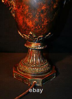 Vintage 1930s French empire cast bronze 2-handled urn table lamp luxury shade