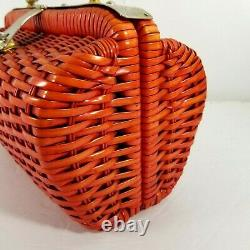 Vintage 1970s Wicker Woven Basket Purse Dr Bag with Silver Handle and Latch