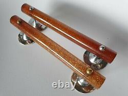 Vintage Antique Pair Of Amber Glitter Bakelite Phenolic Lucite Pull Door Handles