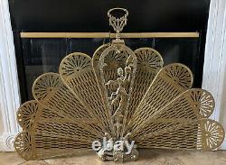 Vintage Art DECO Fireplace screen Brass Ornate Peacock Fan RARE 45 Span