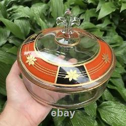 Vintage Art Deco 1950s 60s Candy Dish Fleur De Lis Handle