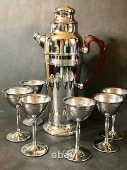 Vintage Art Deco Chrome Cocktail Shaker Red Bakelite Handle Set 6 Chrome Glasses