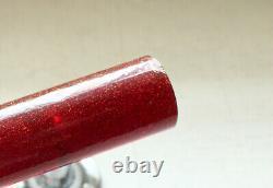 Vintage Art Deco Red Bakelite Furniture Handles Drawer Pull Chrome