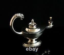 Vintage Art Deco Silver cigar lamp, lion handle, cigar lighter