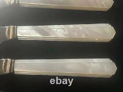 Vintage Art Deco Sterling Silver Butter Knives Mother Of Pearl Handles Set Of 6