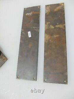 Vintage Brass Door Handles Pulls Set Finger Push Plates Shop Old Art Deco 15
