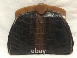 Vintage Crocodile Clutch Bag With Bakelite Handle 30s ART DECO