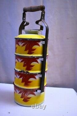 Vintage Enamelware Tiffin Carrier Traditional Lunch Box Tingkat Dabbas Japan 8