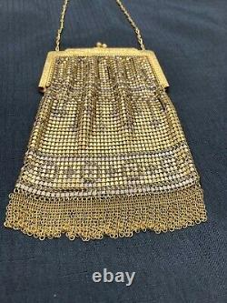 Vintage Gold Colored Mesh Whiting & Davis CO Coin Purse Bag with handle