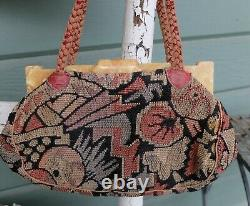 Vintage Marble Bakelite Deco Tapestry Purse Leather Handles Built In Coin Purse
