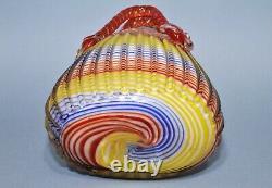 Vintage Murano Hand Blown Striped Art Glass Purse Handle Basket Vase