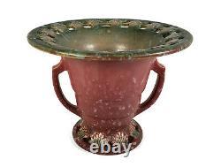 Vintage Roseville Art Deco Ohio Pottery Pinkish Red Ferella Handled Vase 503-5
