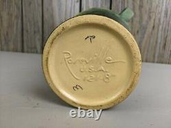 Vintage Roseville Pottery Freesia Green Double Handle Ceramic Vase 121-8