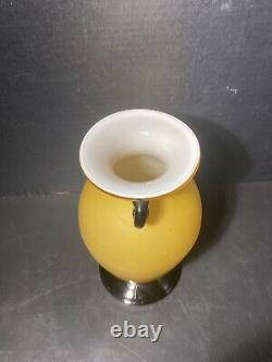 Vintage Yellow Venini Murano Vase With Black Handles