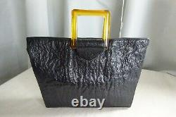 Vintage art deco 1930's black leather handbag with apple juice bakelite handles