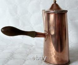 Vintage art deco oval copper cafe au lait chocolate pot/can with wooden handle