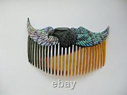 Vintage rare Art Deco abalone paua mother pearl eagle bird hair comb grip slide