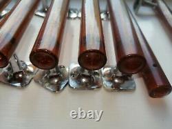 Vintage se of 9 Antique amber glitter bakelite phenolic Door handles pull