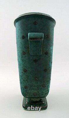 Wilhelm Kage, Gustavsberg, Argenta Art deco large vase with handles