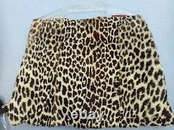 Wonderful Vintage 1940's Genuine Leopard Fur Muff Purse With Lucite Handle