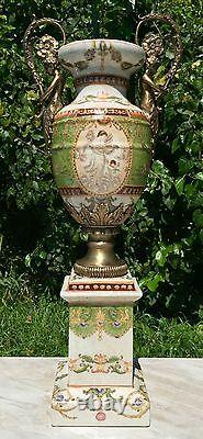 Wong Lee Olive Green Art Deco Porcelain & Bronze Cherub Handle Vase