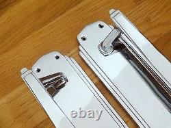 (pairs) Chrome Art Deco Pull Handles + Finger Door Push Plates Knobs Grab Large