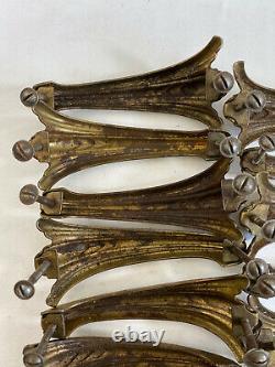 15pc Vintage Art Déco Brass Waterfall Handle Drawer Knob Pull Lot Ornate Set