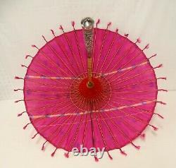 1920 Art Déco Japonais Parasol Silver Handle Pink Silk Crepe Hand Painted