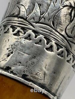 1920 Art Déco Poignée Sterling Sterling Cane De Marche Du Corps De L'érable