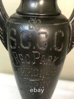 1933 Dodge Inc La Trophy Loving Cup Art Deco Poignées Gravés Champ Décoratif