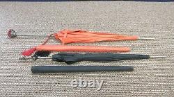 2 Hato Hasi Rhodia Nailon Umbrella Parasol Gem Stone Handle Black Red Japan Lot