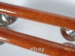 2 X Vintage Amber Glitter Bakelite Phénolique Lucite Poignées De Porte De Traction 148 Grammes