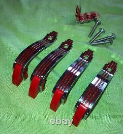 4-vintage Crome Drawer Pull Poignées De Porte Rouge Lignes Art Déco Avec Vis