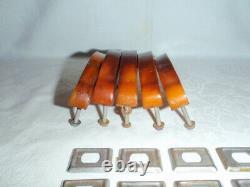 5x Art Deco Butterscotch Amber Bakelite Tire Poignées Ensemble Complet C. 1920