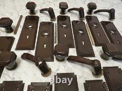 7 Ensembles 1930s Brown Bakelite Poignées Porte Serrure Clé Plaque Main Bouton Levier Art Déco
