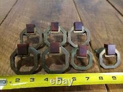 7 Vintage Art Déco Bakelite And Brass Look Tire Poignées Hardware Octogone