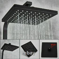 8 Black Wall Mount Rain Shower Set Combo & Poignée Douche & Tub Filler Mixer Tap