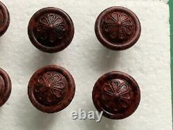 8 Poignées De Tiroirs En Bakélite Vintage X, Pull Knobs, Diamètre 25mm, Vis 13mm