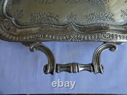 Antique Art Deco Argent Plaqué Twin Poignée De Griffes De Pied Butler De Plateau 50cm X 30cm