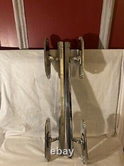Antique Art Déco Ballroom /cinéma Chrome Nickel Door Pull Handles 26 Inch